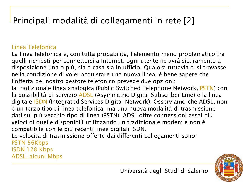 Principali modalità di collegamenti in rete [2]